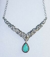 New Carolyn Pollack Sterling Silver  Turquoise Doublet Scroll Rope Bar Necklace