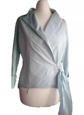Zara Woman Blue Long Sleeves Tie Wrap Blouse Top Blogger Size M