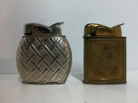 2 Vintage 1952 Evans Art Deco Pocket Lighters Silver Plated & Brass Collectibles