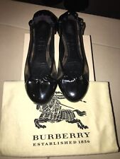 BURBERRY Smoked Check Black Patent Leather Ballet Flats EU37.5 US7 UK4.5