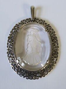 AVON Silver tone Oval Clear Intaglio Glass Cameo Pendant