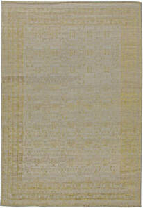 Contemporary Traditional Samarkand Hand Knotted Gold and Taupe Rug N11038