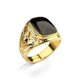 Natural Black Onyx Gemstone 14K Solid Yellow Gold Men's Ring #2123