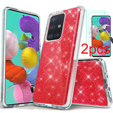 For Samsung Galaxy A20S A51 A71 4G Case Glitter Bling PC Cover Screen Protector