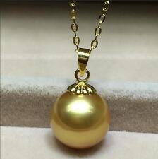 Stunning AAA++ 14-15mm Real natural south sea golden round pearl pendant  18k