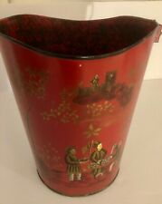 "Handpainted Toleware Pail Bucket Asian Design 12"" Tall Red Background VTG"