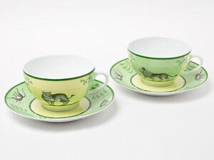 Hermes Morning Soup Cup Saucer Africa Green Animal Tableware set Porcelain Rare