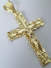 Real 10k yellow Gold Jesus Crucifix nugget Cross Pendant charm 2.40 inch long