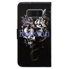 Bocov White Skull Dragon Leather Wallet Cover Case For Samsung Galaxy S8+/Plus