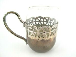 Glass and Silver Plated Small CREAMER Floral Design Hand Finished