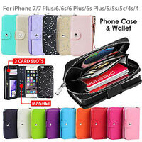 iPhone 8 Plus 6s Case SE for Apple Zip Wallet Magnetic Leather Cover Coins Flip