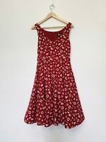 Revival Women's Dress Fit Flare Tulle Sailor Sea Print Red White Retro Size 8