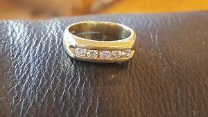 Mens 14K Yellow Gold Fn 1.0 Ct Diamond Wedding Anniversary Band Engagement Ring