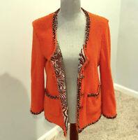 Zara Woman Orange Blazer Jacket With Zebra Print Inside Size M