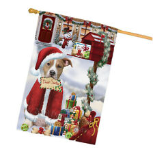 American Staffordshire Terrier Dog Christmas Holiday Mailbox House Flag Flg53713