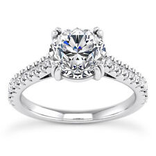3/4 Carat D VS2 Diamond Engagement Ring Round Cut 14K White Gold