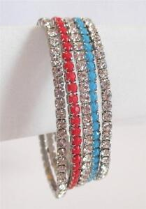 Flexible Stretchy Stackable Bracelet(s) Rhinestone Coral Turquoise Free Shipping