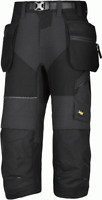 6905 Snickers Black FlexiWork, Work Pirate Trousers+ Holster Pockets