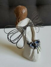 Willow Tree Thank You Angel Figurine. Purple bouquet of flowers behind her back.