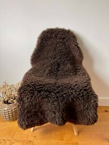XL Large Genuine Merino Sheepskin Sheep Curly Fur Rug Nat. Dark Chocolate Brown