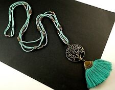 Tree of Life Green Tassel Long Dangle Pendant with Green & Gold Beads # B38