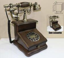 TELEFONO STILE ANTICO LEGNO NOCE RIFINITURE IN METALLO BRONZATO CON CASSETTO