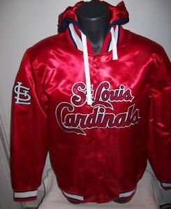 ST. LOUIS CARDINALS Satin Jacket S XL 2X RED with Attached Hood