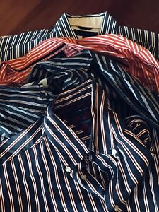 5 X TOMMY HILFIGER stripe Collared Shirts, Mens L
