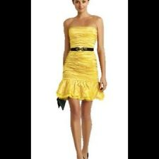 NWT BCBG MAX AZRIA DRESS BAMBOO YELLOW BLACK STRAPLESS 10 M/L ONLY PARTY