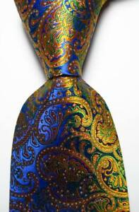 New Classic Paisley Gold Blue Green JACQUARD WOVEN Silk Men's Tie Necktie