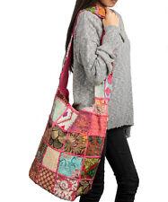 Pink Floral Sling Shoulder Hobo Bag Crossbody Patchwork Hippie Casual Unique