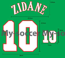 ZIDANE #10 France Home EURO 1996 FLOCK VELVET NAME NUMBER PRINT FREE SHIPPING