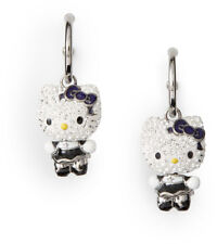 NIB Swarovski Hello Kitty Pierced Earrings #1145268 Black + Silver Crystals $175