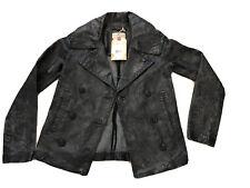 Ralph Lauren Denim & Supply Rainer Grey Distressed Leather Jacket Women's SZ XS