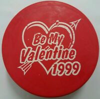 1999 ST. LOUIS BLUES BE MY VALENTINE RED HOCKEY PUCK FOTOPUCK MADE IN USA  NHL