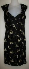 SABA Black Floral Pure Silk Short Sleeve Dress Size 10 Small S - Worn Once