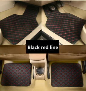 4pcs Car Floor Mats Leather Interior Floor Carpet Cushion Pad Protector Non-slip