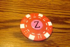 """ Z "" Monogram Dice design Poker Chip,Golf Ball Marker,Card Guard Red/White"