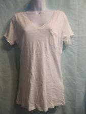 Hollister White V Neck T Shirt Size M  NWT Left Breast Pocket