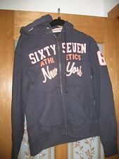 Mens dark blue Dn. Sixty Seven hoodie with front zip in size small