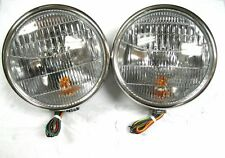 1932 Style Stainless Halogen Head Lamps w Turn Signal Head Lights NO FORD SCRIPT