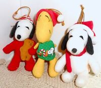 Vtg Peanuts Snoopy & Woodstock Plush Christmas Ornament Lot  Applause / UFS  H23