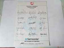 West Indies World Cup Cricket Team 1987 Pre Printed Autographed Sheet