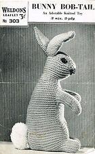 Bunny Bobtail DOUDOU LAPIN VINTAGE KNITTING PATTERN. laminated copy.