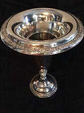 "Antique Sterling Silver Trumpet Vase - Flower Pattern - 9.5"" Tall - 486 grams"