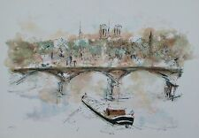 """URBAIN HUCHET """"PONT NEUF"""" Hand Signed Large Limited Edition Lithograph Art"""