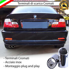 COPPIA TERMINALE SCARICO DOPPIO CROMATO LUCIDO ACCAIO INOX BMW SERIE 3 E46