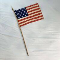 Vintage/Antique American Parade Flag 48 Stars USA Cloth Wood