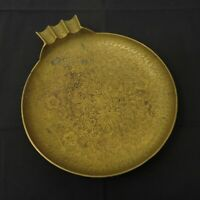 Vtg Large Heavy Brass Cigar Ashtray Hand Made in India Etched Floral Pattern