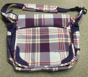 Jansport Crossbody Messenger Bag Pink/Purple Plaid 16x22, Shoulder, Book,School